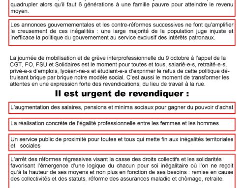 9 OCTOBRE : TRACT UNITAIRE 73